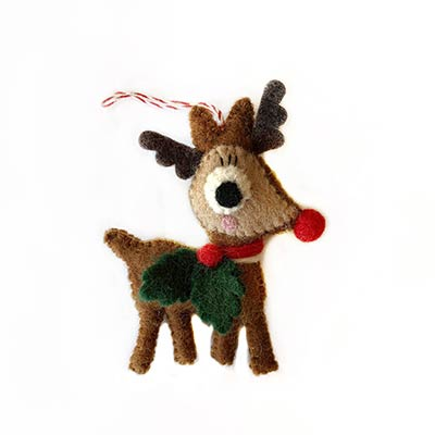 Reindeer with Holly Ornament