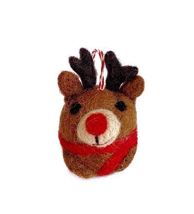 Reindeer Tufted Wool Ornament