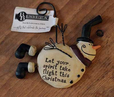 Flying Snowman Ornament - Spirit Take Flight