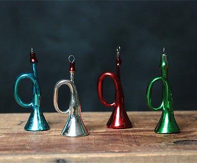 Retro Glass Horn Ornament