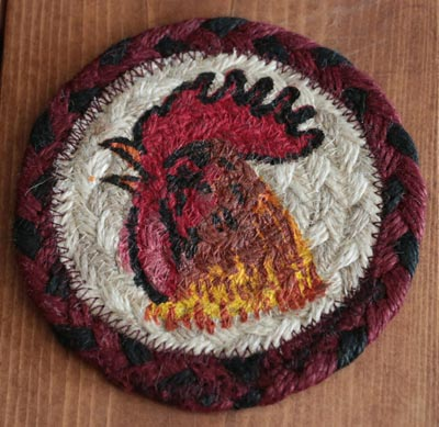 Rooster Braided Jute Coaster