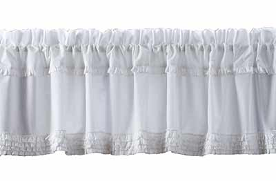 White Ruffled Sheer Valance - 72 inch