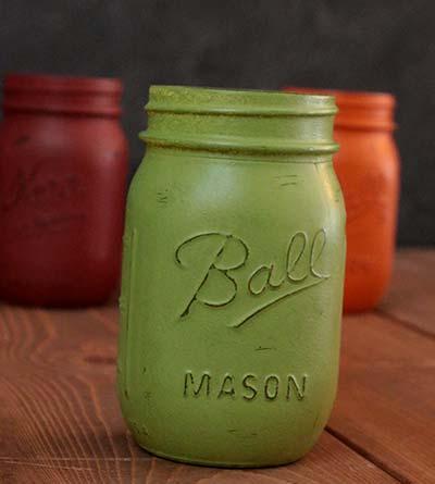 Hand-Painted Mason Jar (Pint) - Avocado Green