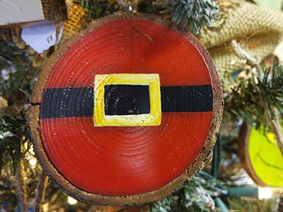 Santa Belt Wood Slice Ornament (Personalized)