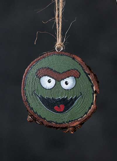 Grouchy Monster Wood Slice Ornament (Personalized)
