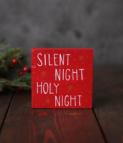Silent Night Holy Night Shelf Sitter Sign