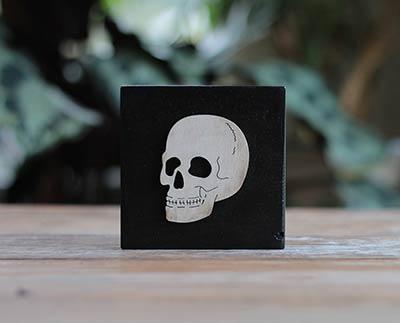 Skull Rustic Halloween Wood Sign