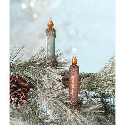 Pastel Candle Clip Ornaments (Set of 2)