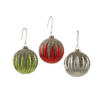 Vintage Mercury Glass Ribbed Ornaments (Set of 3)