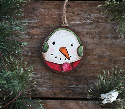 Snowman with Earmuffs Wood Slice Ornament (Personalized)