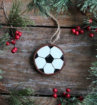 Soccer Ball Hand Painted Wood Slice Ornament By Our
