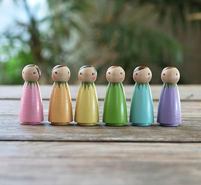 Spring Rainbow Peg Dolls (Set of 6)