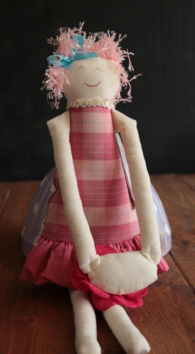Girl with Flower Door Hanger - Pink Plaid