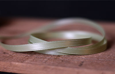 Celery Green Double Faced Poly Satin Ribbon, 1/4 inch