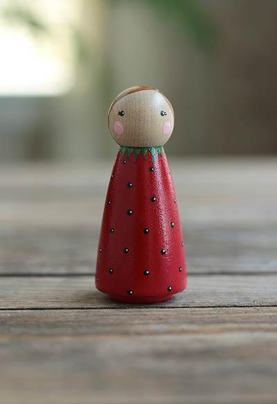 Strawberry Peg Doll - Large