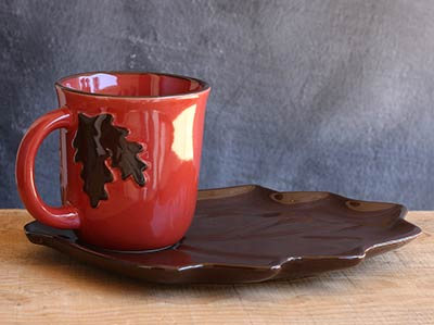 Fall Leaf Mugs & Plate Set (Brown)