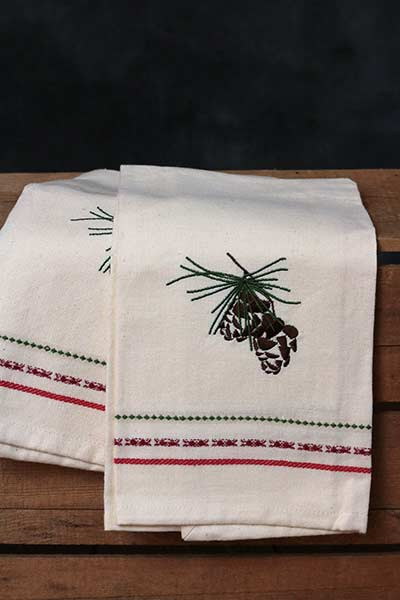 Pine Cone Embroidered Guest Towel