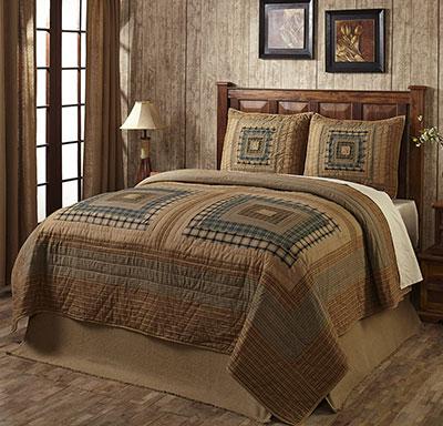 Earthtone Log Cabin Quilt Set