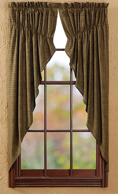 Tea Cabin Green Plaid Prairie Curtain