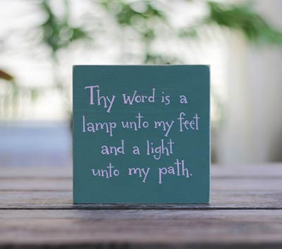 Thy Word Is A Lamp Unto My Feet Sign - Green/Pink