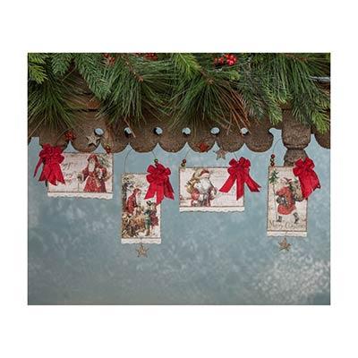 Traditional Christmas Postcard Ornaments (Set of 4)