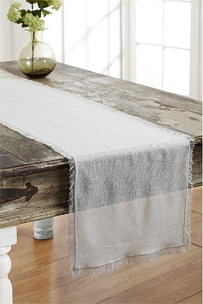 Antique White Tobacco Cloth Table Runner, 48 inch