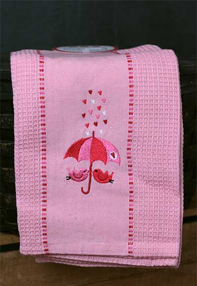 Showered with Love Embroidered Kitchen Towel