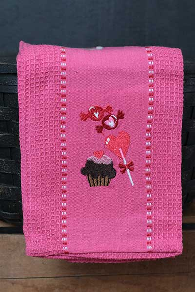 Sweet Hearts Embroidered Kitchen Towel