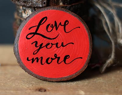Love You More Hand-Lettered Wood Slice Ornament (Personalized)