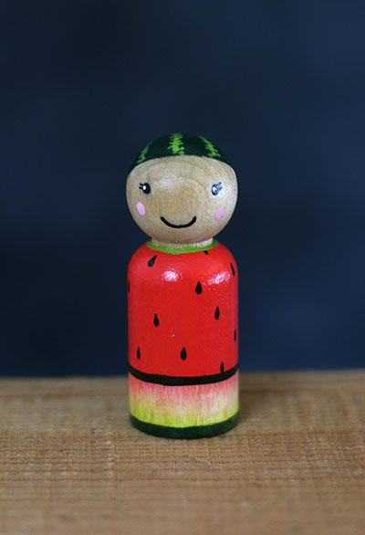 Watermelon Peg Doll (or Ornament)