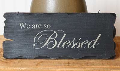 Blessed Tattered Wood Sign - Black