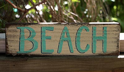 Beach Wooden Sign - White and Teal