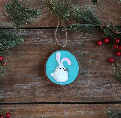 Bunny Wood Slice Ornament (Personalized)