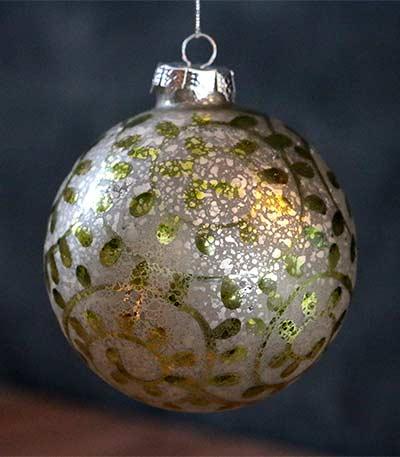 White/Green Antiqued Ornament - Ball