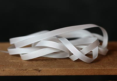 White Grosgrain Ribbon, 1/4 inch