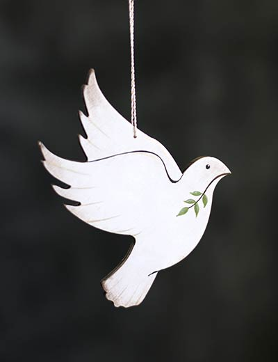 Dove with Olive Branch Personalized Ornament