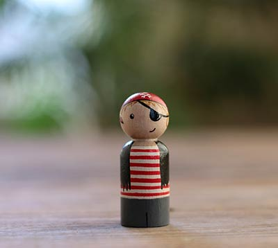 Pirate Boy Peg Doll (or Ornament)