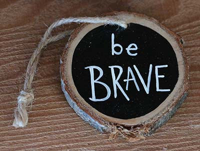 Be Brave Wood Slice Ornament - Black (Personalized)