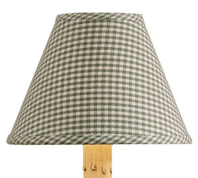 York Mini-Check Lampshade, Sage - 12 inch