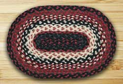 Black, Ivory, Country Red Braided Tablemat (10 x 15 inch)