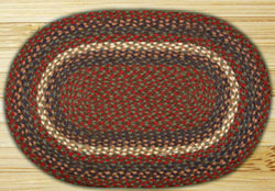 Burgundy, Grey, and Blue OVAL Jute Rug - 20 x 30 inch