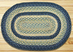 Breezy Blue, Taupe, and Ivory Braided Jute Rug, Oval - 27 x 45 inch
