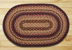 Black Cherry, Chocolate, and Cream Braided Jute Rug, Oval - 20 x 30 inch