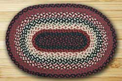 Black, Ivory, and Country Red Braided Jute Rug, Oval - 20 x 30 inch