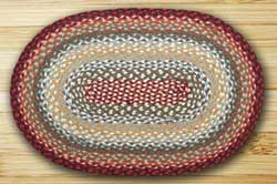 Thistle Green & Country Red Braided Rug, Oval - 20 x 30 inch