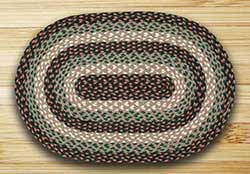 Green Braided Rug, Oval - 27 x 45 inch