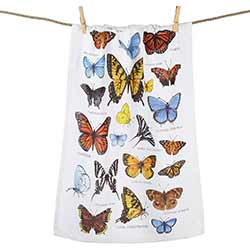 Field Guide Butterfly Printed Flour Sack Towel