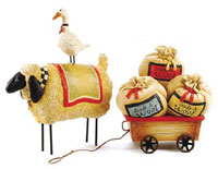 Sheep & Goose with Wagon (Set of 2)