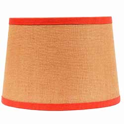 Burlap Drum Lamp Shade with Orange Trim - 10 inch