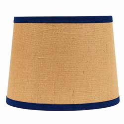 Burlap with Cobalt Trim Tapered Drum Lamp Shade - 14 inch